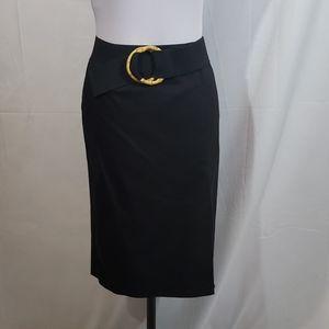 EUC Bandolino Black Pencil Skirt W/Belt Size 6